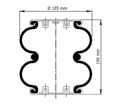 Perna aer gogosar camioane / semiremorci 2DC-180-1C pt axe Gigant