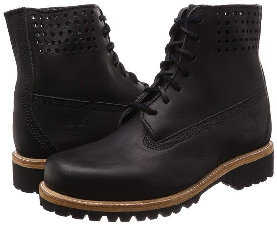 """TIMBERLAND 6 inch 100% PREMIUM """"Bare Naked"""" Black leather mens 43"""