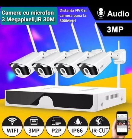 Supraveghere video wireless 2-8 camere 3 MPX,transmisie 500 metri ,Nou