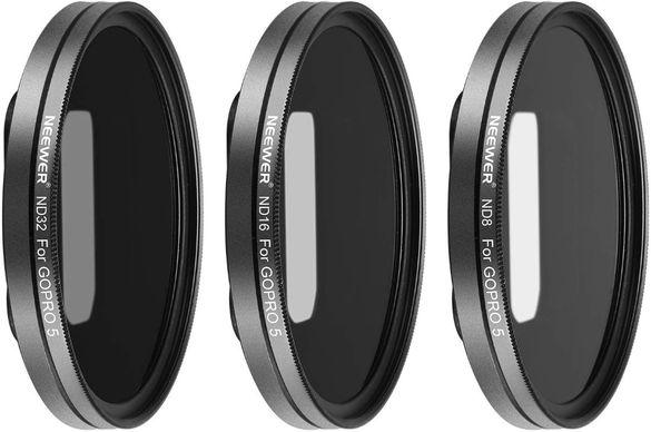 Neewer Комплект 3 филтъра ND8 ND16 ND32 + адаптер за GoPro Hero 5 6 7