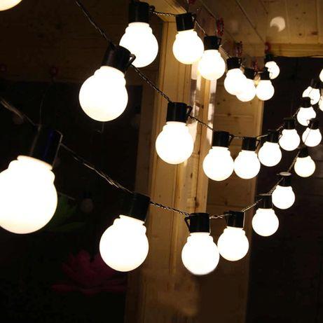 """Гирлянда уличная """"Лампочки"""", прямая, черная, 10м"""