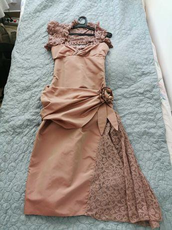 Продавам рокля тафта с цвете през ханша, цвят пепел от рози, XS