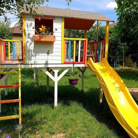 Casuta de joaca, din lemn pt copii, cu doua terase