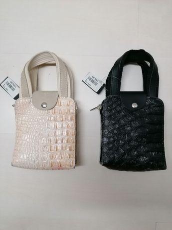 Кожена мини чанта от естествена кожа унисекс Крокодилска кожа