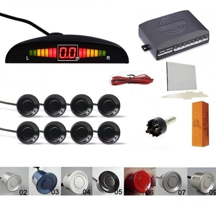 Senzori parcare auto afisaj display averti sonora fata spate 8 set kit Pitesti - imagine 1