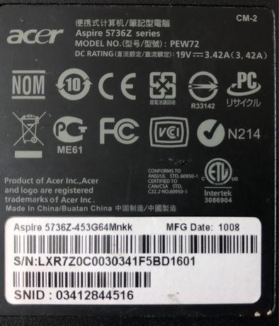 Резервни части за лаптоп Acer Aspire 5736Z