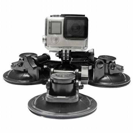 Троен вакуум/вендуза за монтаж на екшън камери към капак/калник