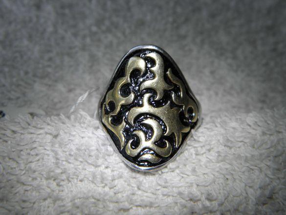 Сребърен уникален италиански авторски пръстен с позлата и емайл