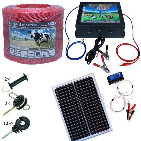 Pachet gard electric 1000M fir, Panou Solar 20W, izolatori
