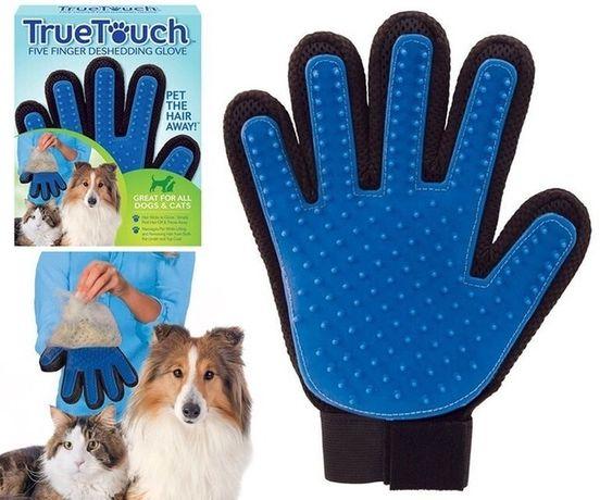 Оригинальная перчатка для вычесывания шерсти собак и кошек TrueTouch