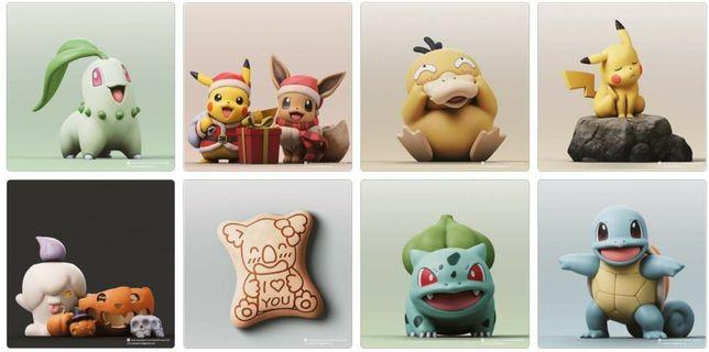 Figurine Pokemon - printate 3D și pictate manual Cartonase / Carti