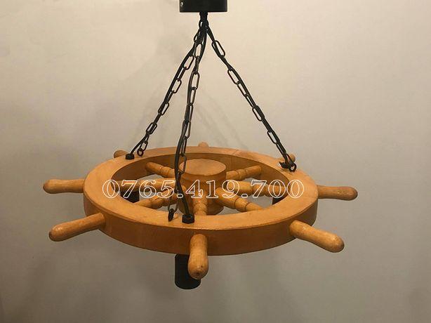 Candelabru din timona de lemn - Candelabru din roata de lemn