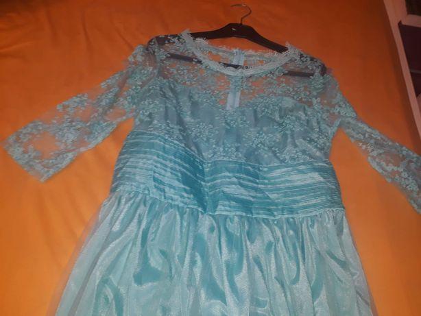 Rochie lunga cu dantelă turcoaz L-XL