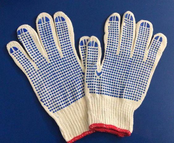 Перчатки хозяйственные хлопчатобумажные 1 пара с ПВХ точками для дачи