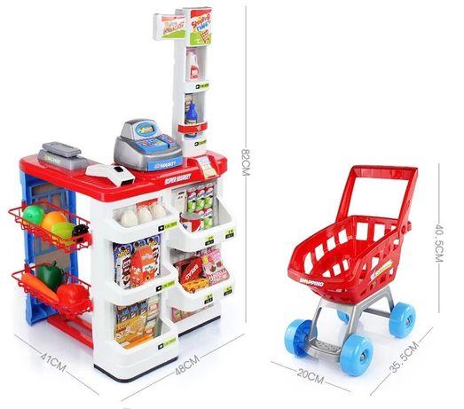 Детский супермаркет с тележкой и продуктами