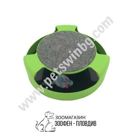 Играчка за Коте с Въртяща се Мишка на 360 градуса - 25.5см/6.5см