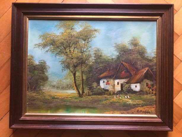 Tablou,pictura francea in ulei pe panza,casa in padure