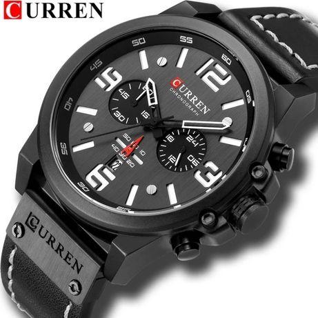 Подарок-кварцевые наручные часы Curren, с кожаным ремешком