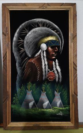 Картина акрил с антикварна стойност с индиански мотиви