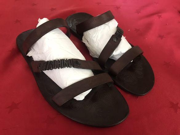 Оригинални летни чехли Moschino - естествена кожа