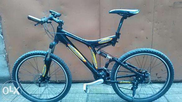Планински алуминиев велосипед Бианчи с амортисьори 26 цола и дискови с