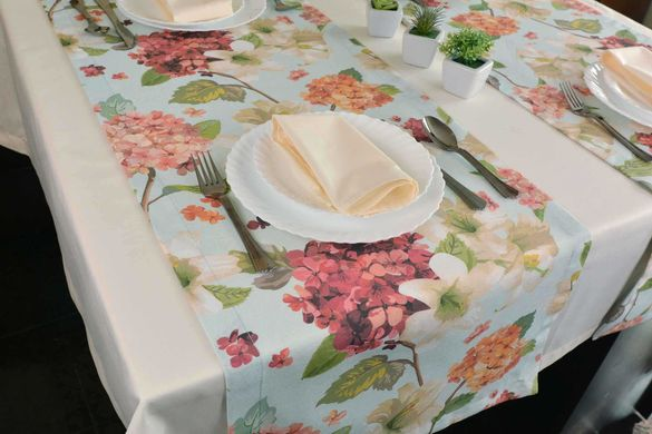 Комплект покривка и подложки с летни цветя за 4 човека