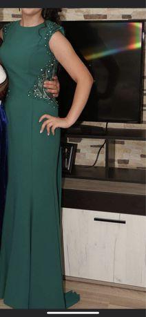 Дълга маслено зелена рокля