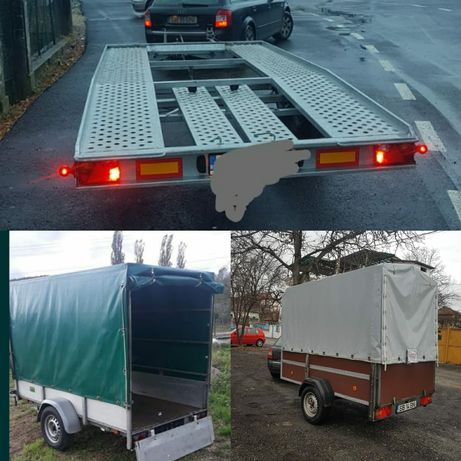 Inchiriez remorca 750kg platforma auto 2000 kg tractari transport auto