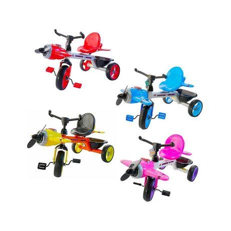 Tricicleta Avion cu elice, muzica și lumini, roti silicon
