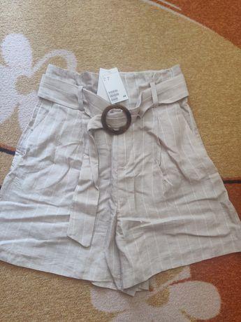 Бежов къс панталон от лен и лиосел H&M