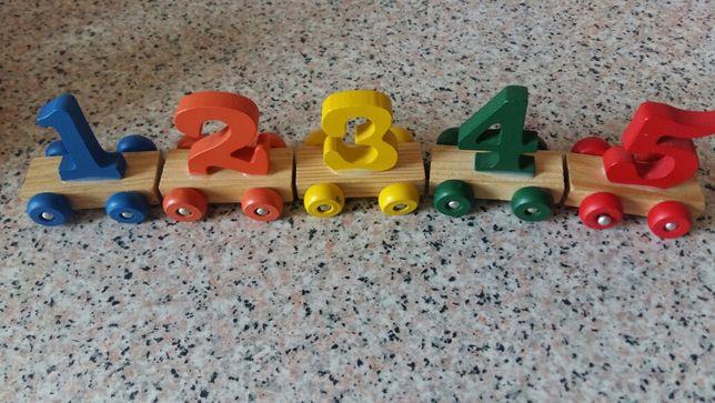 Jucarii educative -Trenuleț cu nr  + Căsuța cu forme