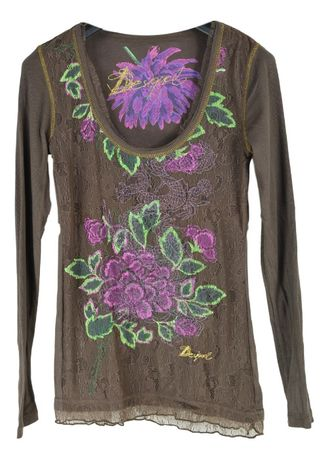 Bluza Dama Desigual marimea XS Maro Bumbac cu Flori RR1