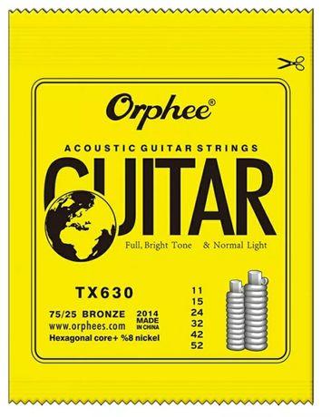 Corzi chitară acustică Orphee 11-52 noi, set corzi chitara rece