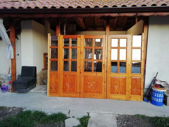 Дограма, нов дървен портал от масив, с дърворезба, бартер.