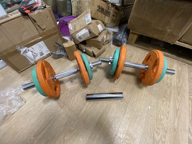 Set gantere reglabile profi cu bara biceps cu discuri grip maner 22 kg