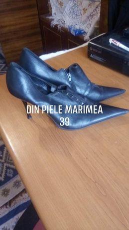 pantofi piele botine varf ascutit