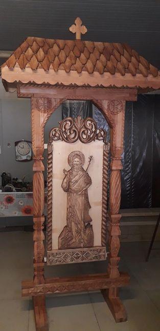 Troita sculptata manual in lemn stejar