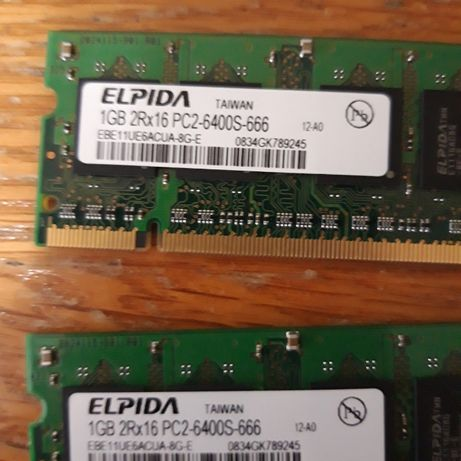 memorie ram rami laptop doua placute de 1gb total 2 gb ddr2
