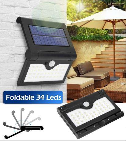 Сгъваема соларна лампа с ТРИ режима на осветяване, 34 диода