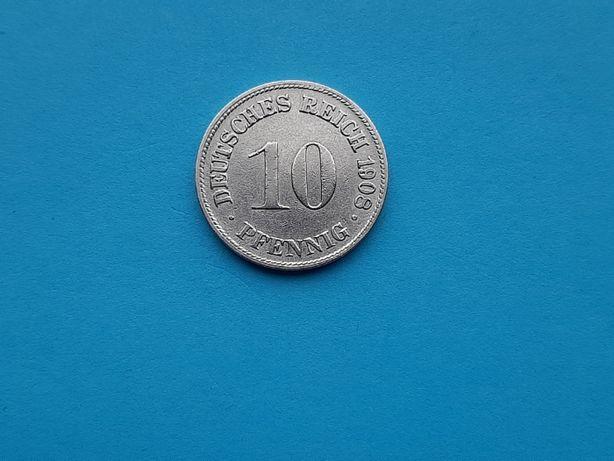 10 Pfennig 1908 lit. D-Germania-XF+++in realitate arata bine