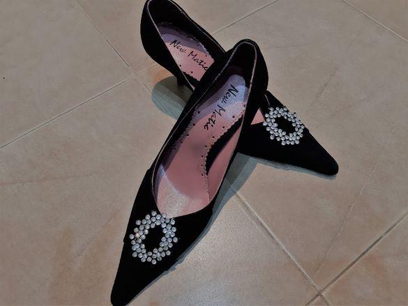Уникални Обувки НОВИ с брошка от камъни №36 оригинални от Гърция