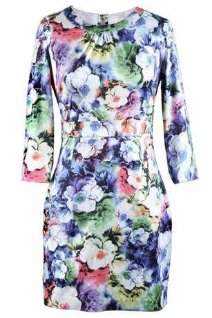 Фантастична шарена рокля / принт цветя / с 7/8 ръкав размер S 28лв