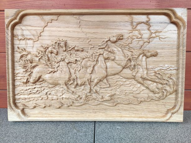 Sculpturã din stejar | Cai sãlbatici in galop |
