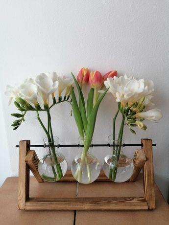 Suport din lemn cu 3 vaze