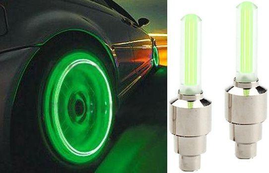 Set 2 LEDURI lumina verde pentru roti la bicicleta, leduri pe ventil