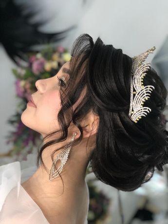 Свадебные прически, вечерние прически , локоны и макияж