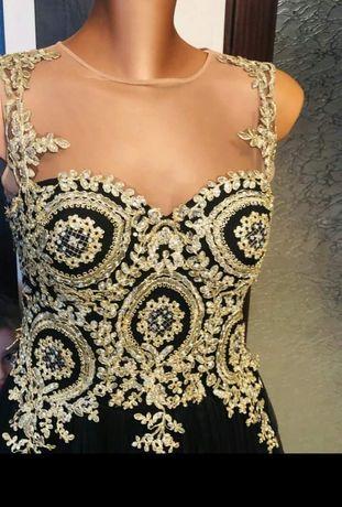 Rochie de ocazie superba culoare negru cu auriu