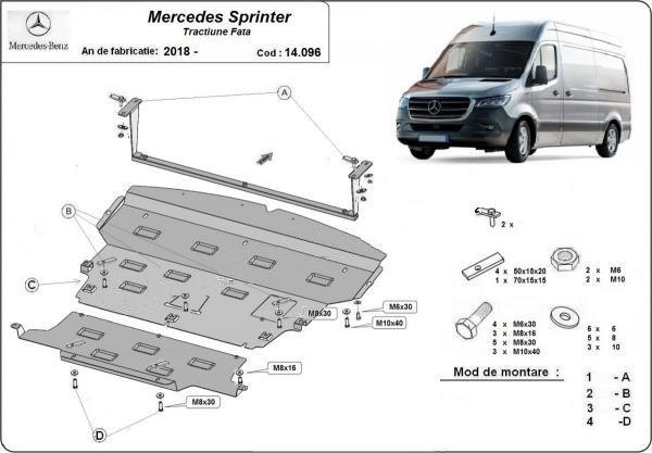 Scut motor metalic pentru Mercedes Sprinter 1995-prezent -otel 2-2.5mm