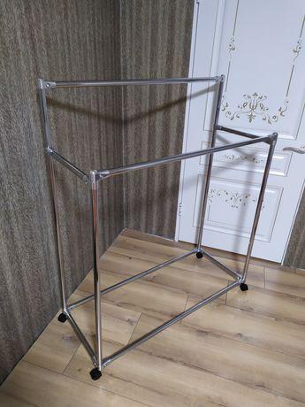 Напольная вешалка двухъярусная стойка для вещей одежды