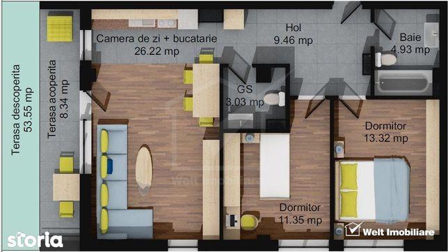 Apartament 3 camere, 68,32 mp, 2 bai, terasa 62 mp, parcare, Baciu